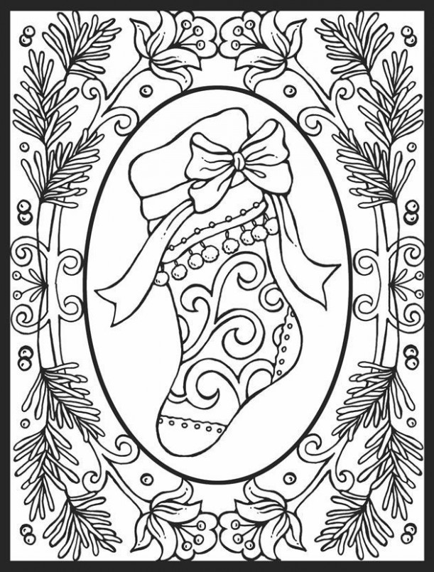 Images difficult christmas coloring pages for adults | Coloring ..