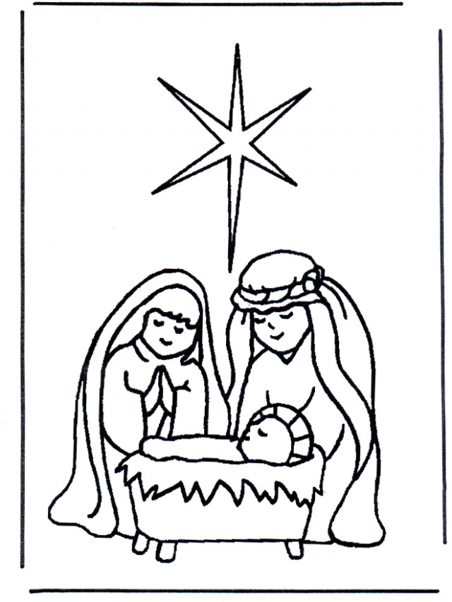 Jesus in crib - Christmas - Christmas Colouring Pages Jesus