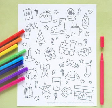 Kawaii Christmas Coloring Pages | AllFreeChristmasCrafts