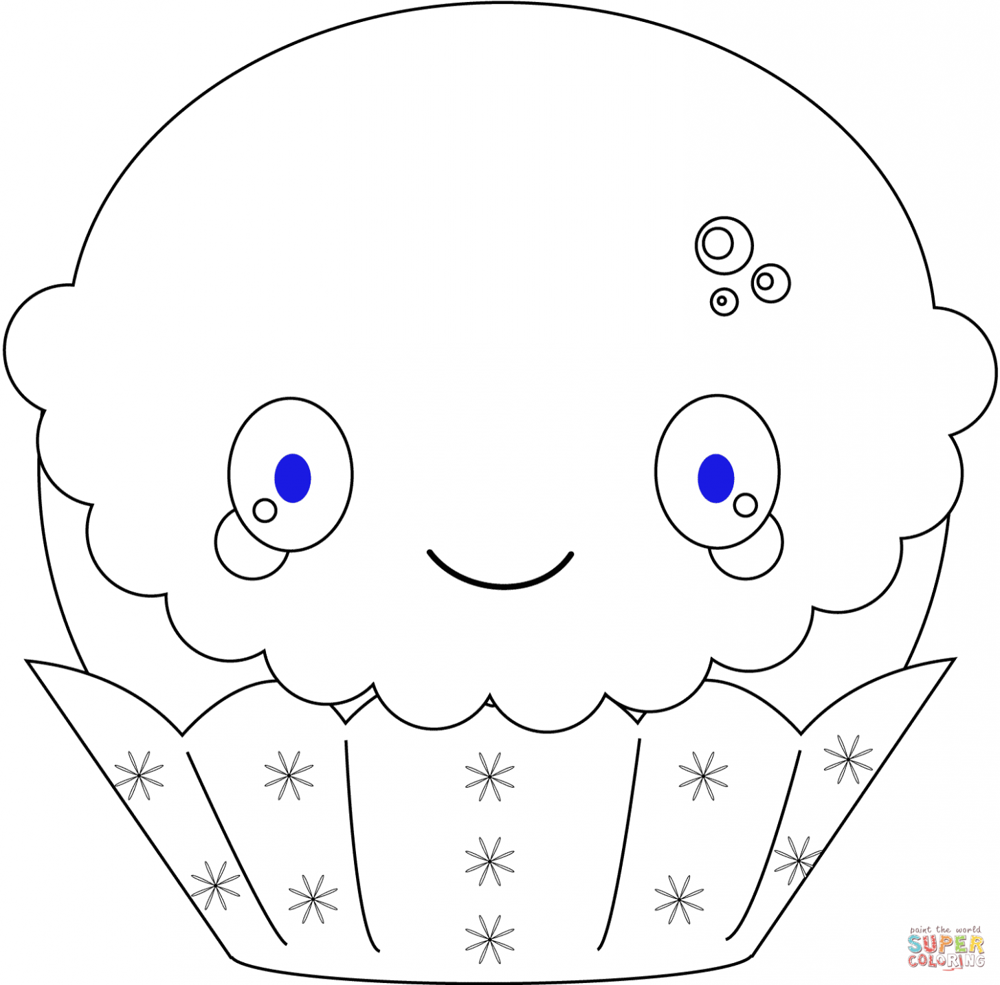 Kawaii Christmas Cupcake coloring page | Free Printable Coloring Pages