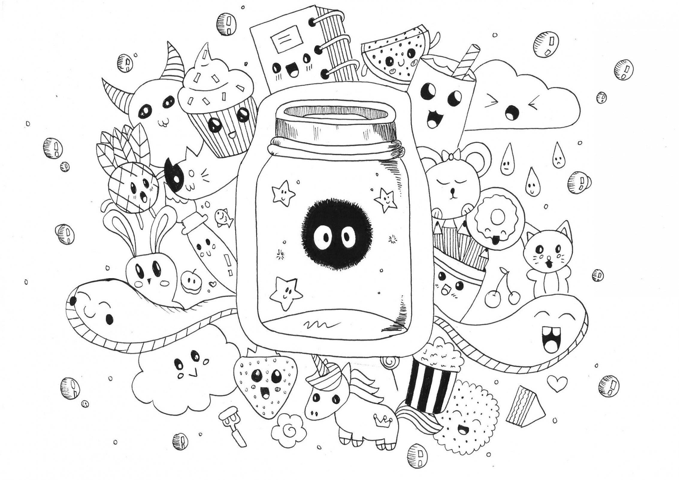 Kawaii doodle rachel - Doodle Art / Doodling Adult Coloring Pages