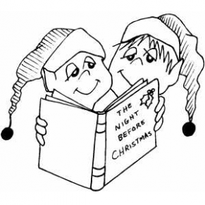 Kids Reading Christmas Book Coloring Page – Christmas Reading Coloring Pages