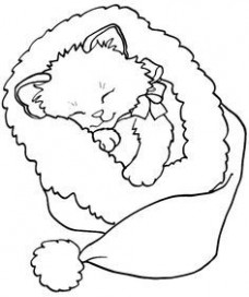 kitten christmas coloring page – Google Search | SZÍNEZŐ ..