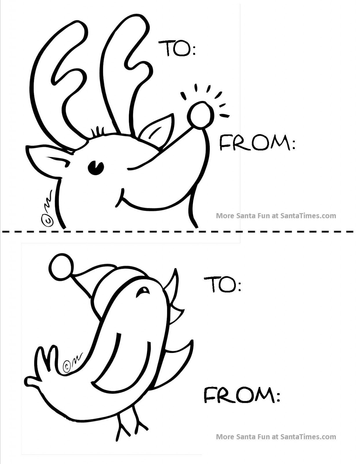 Large Reindeer Gift Tag for the little ones to color for Christmas ...