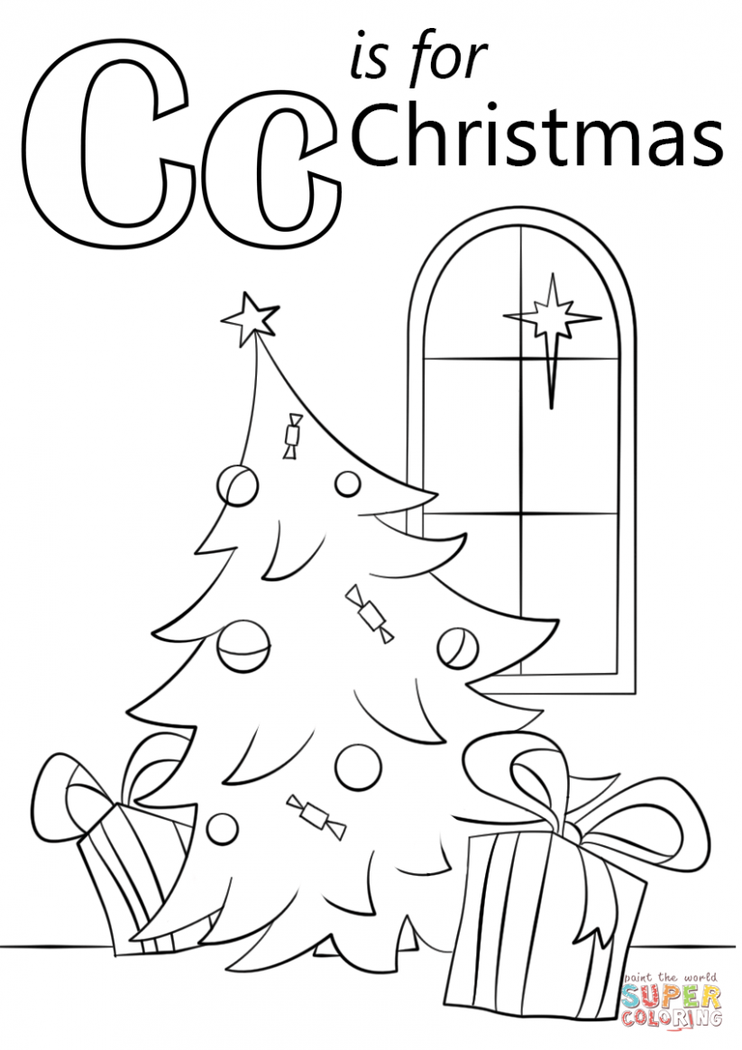 Letter C is for Christmas coloring page | Free Printable Coloring Pages