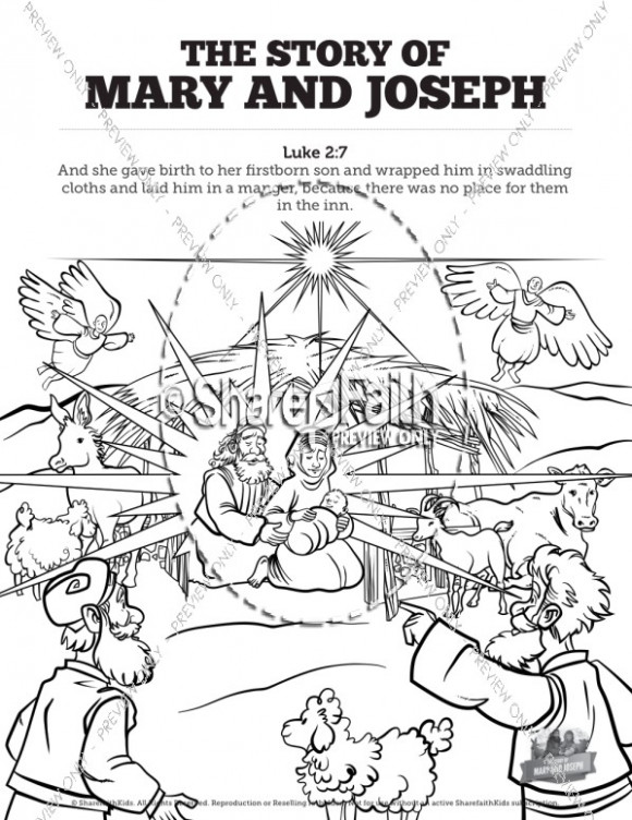 Luke 13 Mary and Joseph Christmas Story Sunday School Coloring Pages ..