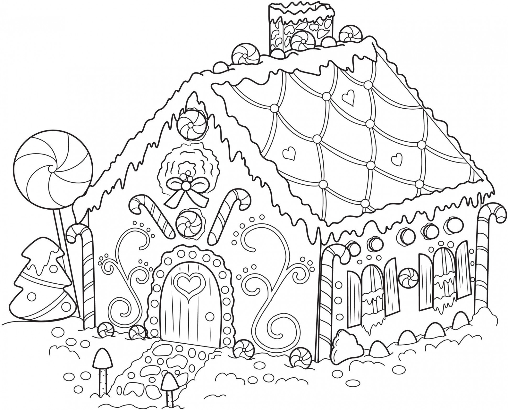 Luxury Free Christmas Coloring Pages Gingerbread House | Coloring Pages