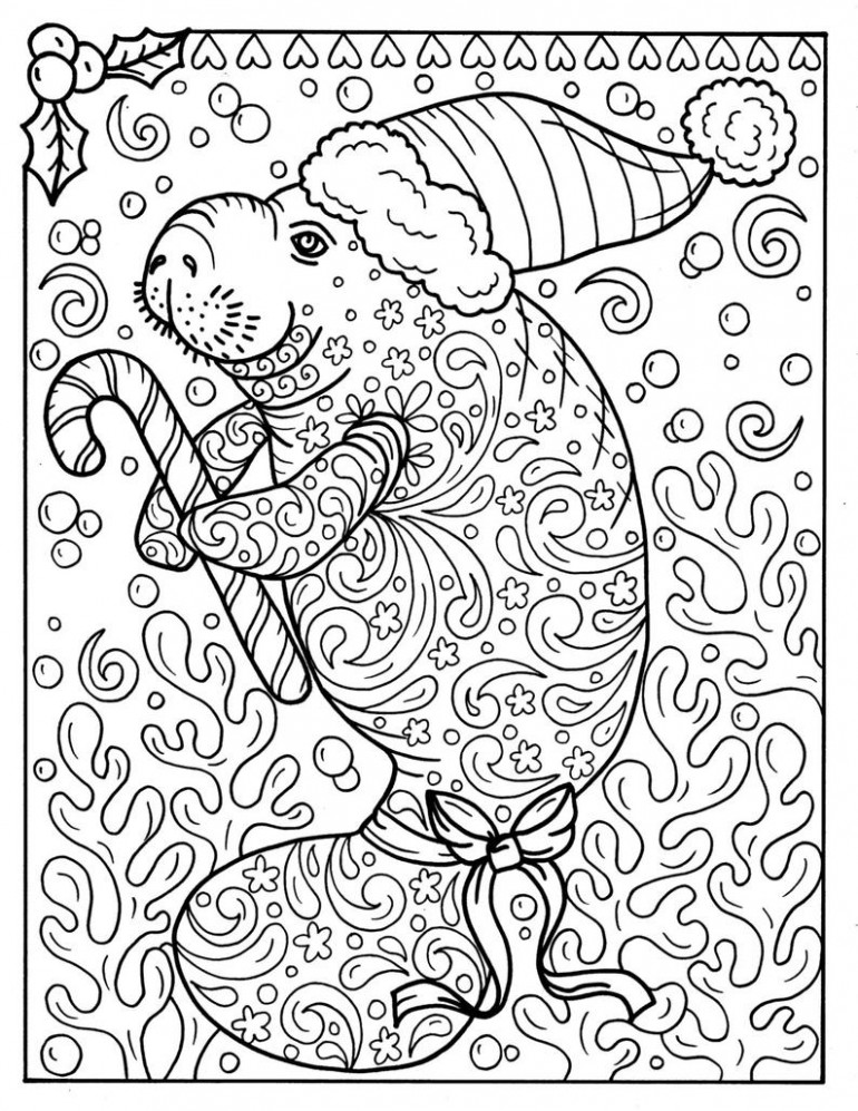 Manatee Christmas Coloring page Instant Download Adult | Etsy – Christmas Coloring Downloads
