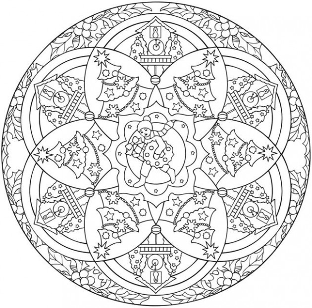 Mandala 14, Creative Haven Christmas Mandalas Coloring Book, Dover ...