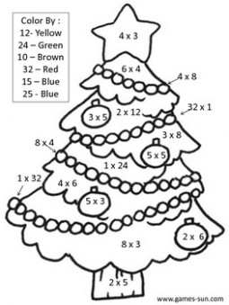 Math Multiplication Color by Answer Christmas Coloring Page by Melia ..