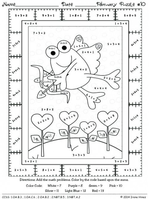 Maths Colouring Pages Grade Math Color By Number Coloring Pages Free ...
