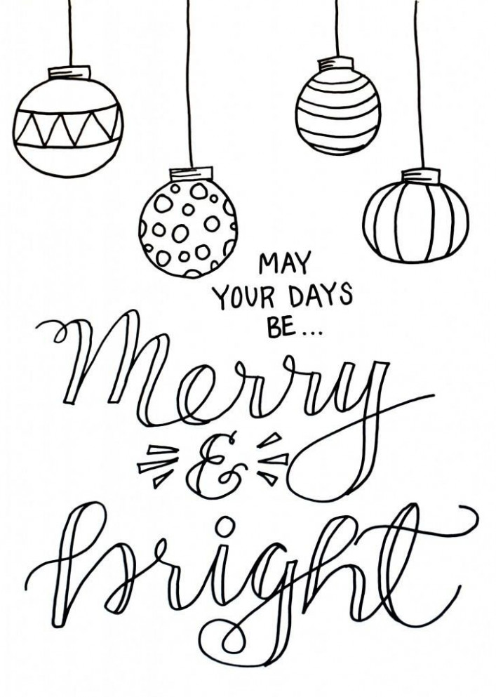 Merry and Bright Christmas Coloring Page | Christmas Coloring Pages ...