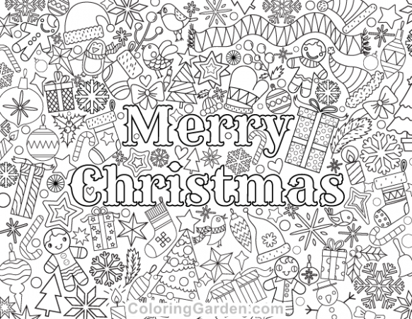 Merry Christmas Adult Coloring Page – Christmas Coloring Pages Merry Christmas