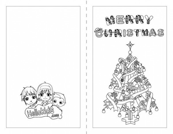 MERRY CHRISTMAS Cards coloring pages - Free printables for kids to ...