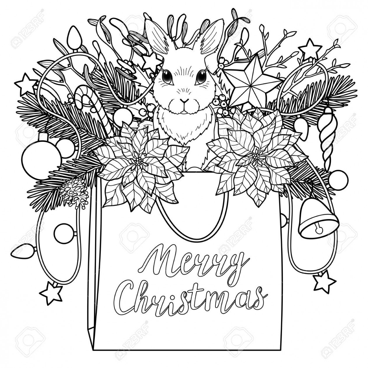 Merry Christmas Coloring Greeting Composition. Square Black And ..