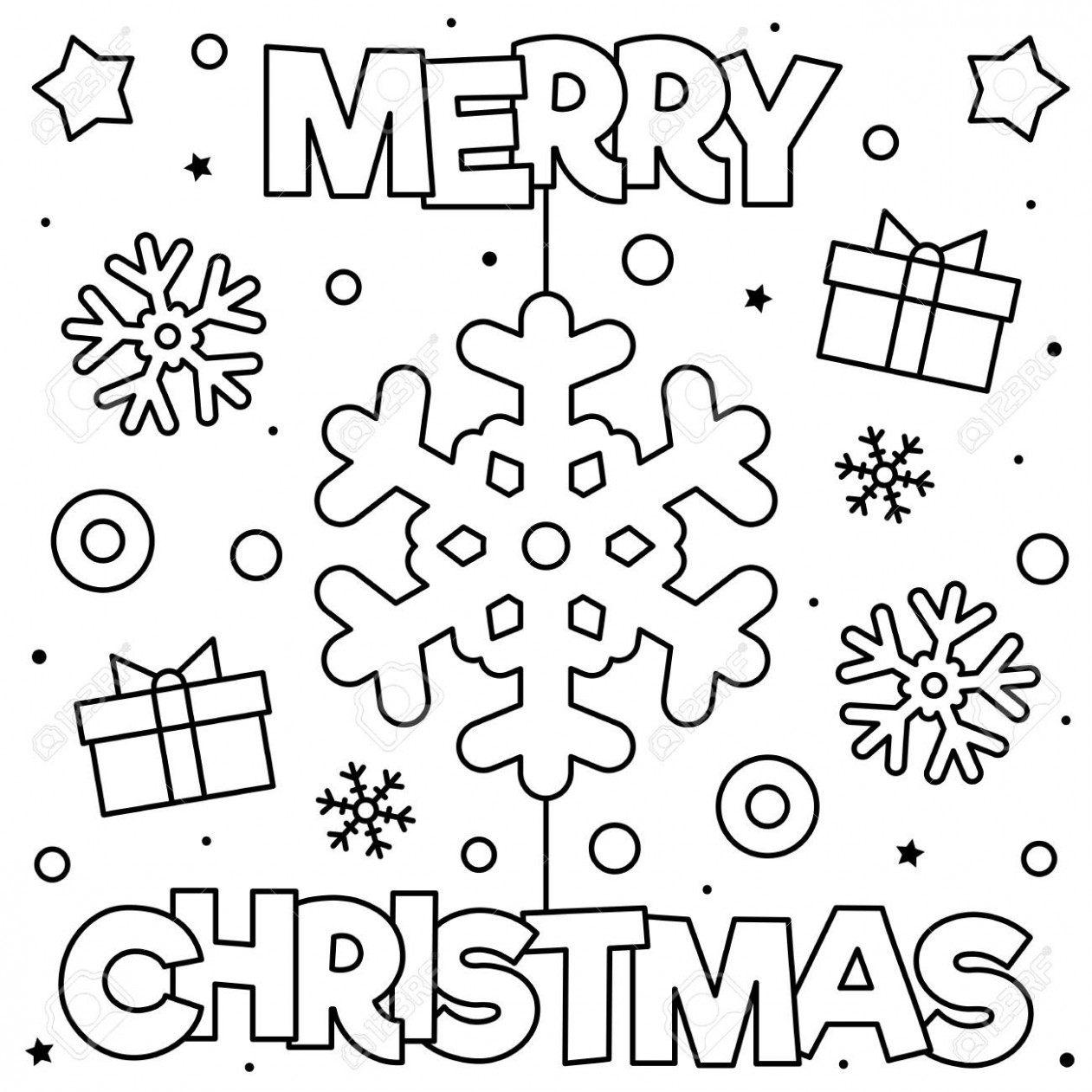 Merry Christmas. Coloring Page. Black And White Vector Illustration ...