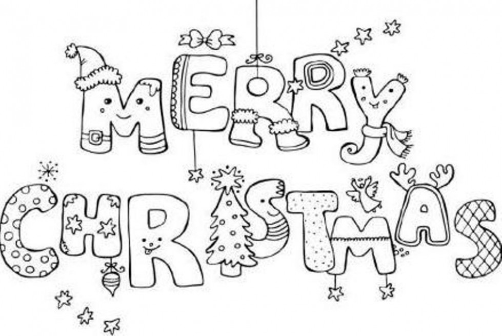 Merry Christmas Coloring Page - Coloring Home
