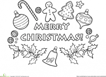 Merry Christmas Coloring Page | Preschool: Christmas Theme | Merry ...