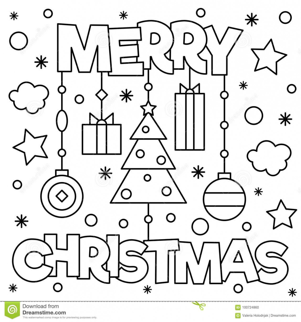 Merry Christmas. Coloring Page. Vector Illustration. Stock Vector ...