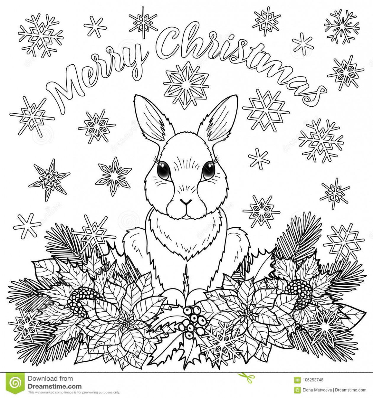 Merry Christmas Coloring Page With Rabbit Stock Vector ...