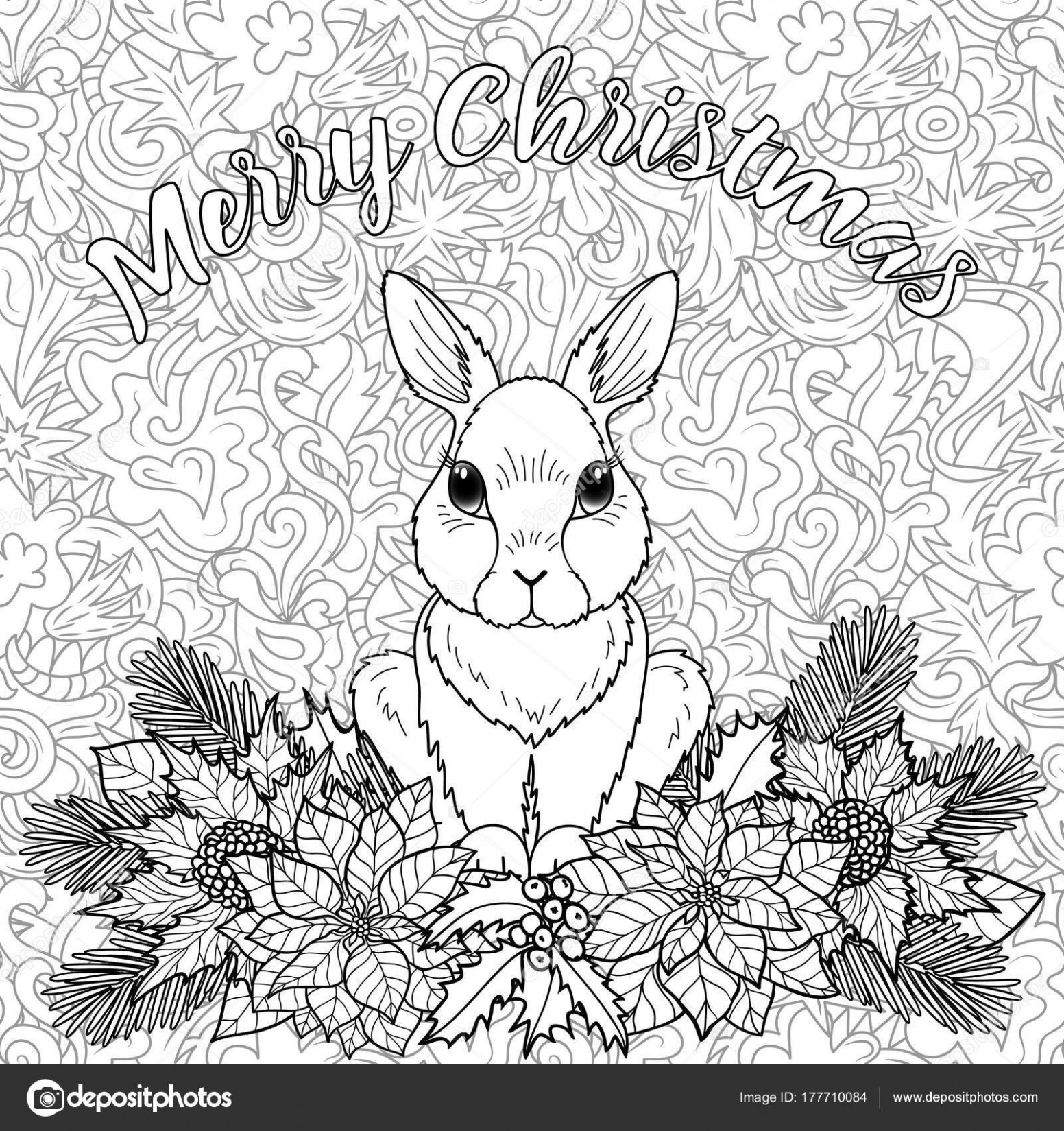 Merry Christmas Coloring Page with Rabbit — Stock Vector © KronaLux ...