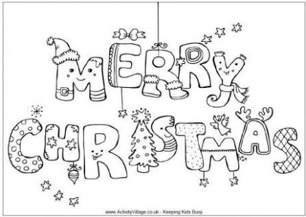 Merry Christmas colouring page … | School | Merry…