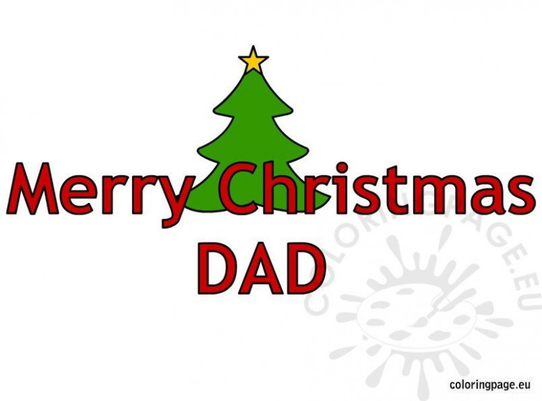 Merry Christmas Dad Text – Coloring Page – Merry Christmas Dad Coloring Pages