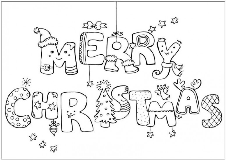 Merry Christmas Greeting Card Coloring Page | School ideas | Merry ..