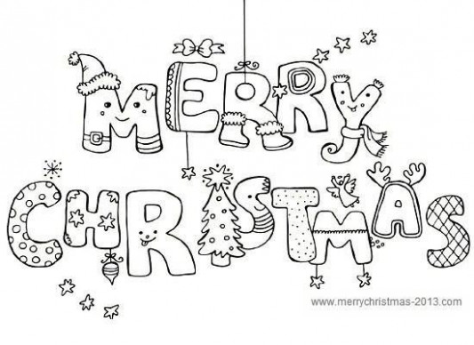 Merry Christmas Pictures to Color and Print for Free   Work   Merry ..