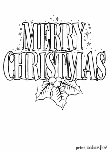 Merry Christmas sign coloring page – Print. Color