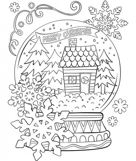 Merry Christmas Snowglobe Coloring Page | crayola