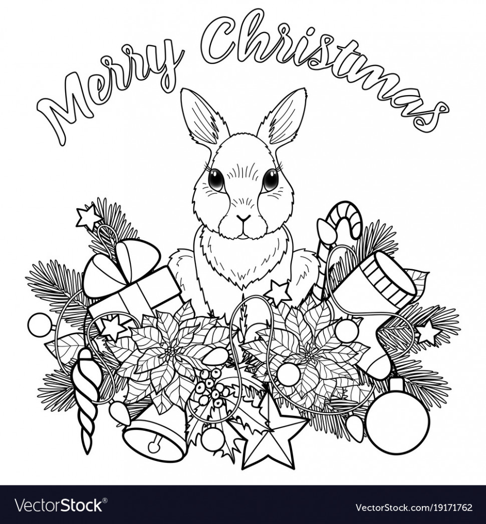 Merry christmas with rabbit Royalty Free Vector Image