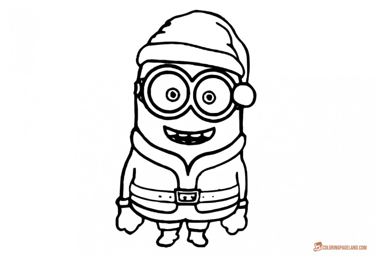 Minion Coloring Pages for Kids – Free Printable Templates – Christmas Minion Coloring Pages