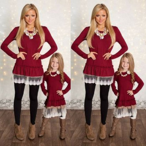 Mom Girls Red Lace Christmas Dress Long Sleeve Solid Color Mother ..