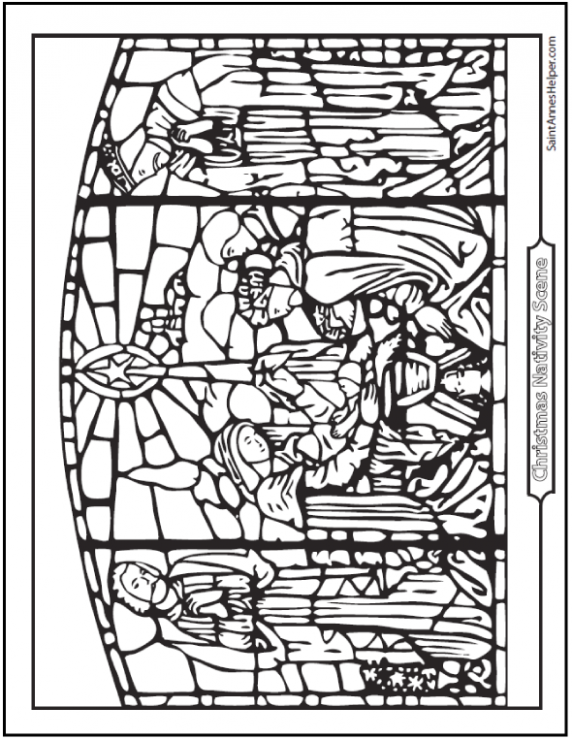 Nativity Coloring Pages: Stained Glass Art – Christmas Coloring Pages Stained Glass