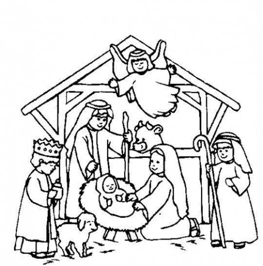 Nativity Scene Coloring Page | Christmas | Nativity coloring pages ..