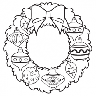 Ornament Wreath Coloring Page - Free Christmas Recipes, Coloring ...