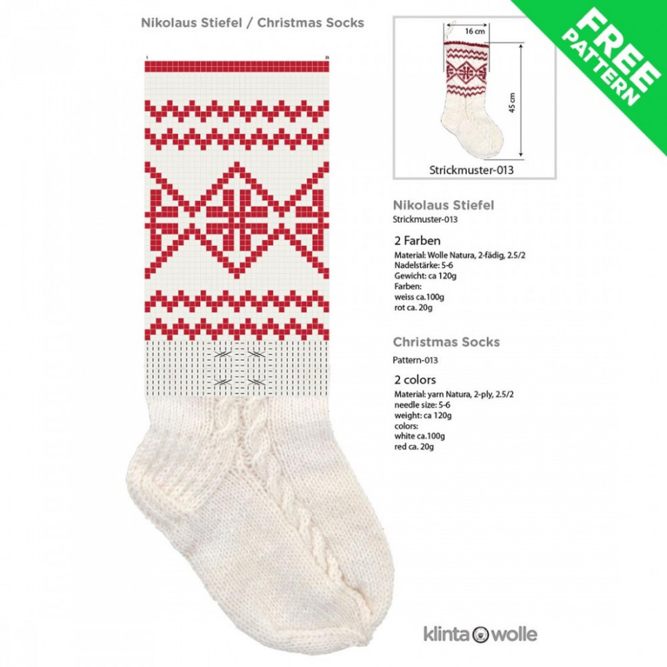 Patterned Christmas stocking free knitting pattern #16, easy level – Christmas Colored Sock Yarn