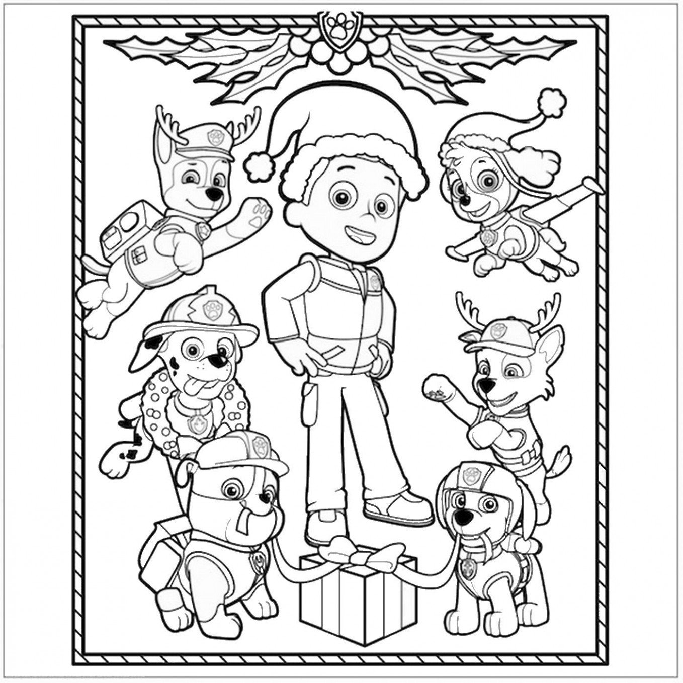 Paw Patrol Christmas Coloring Page … | Coloring Pages | Paw p…