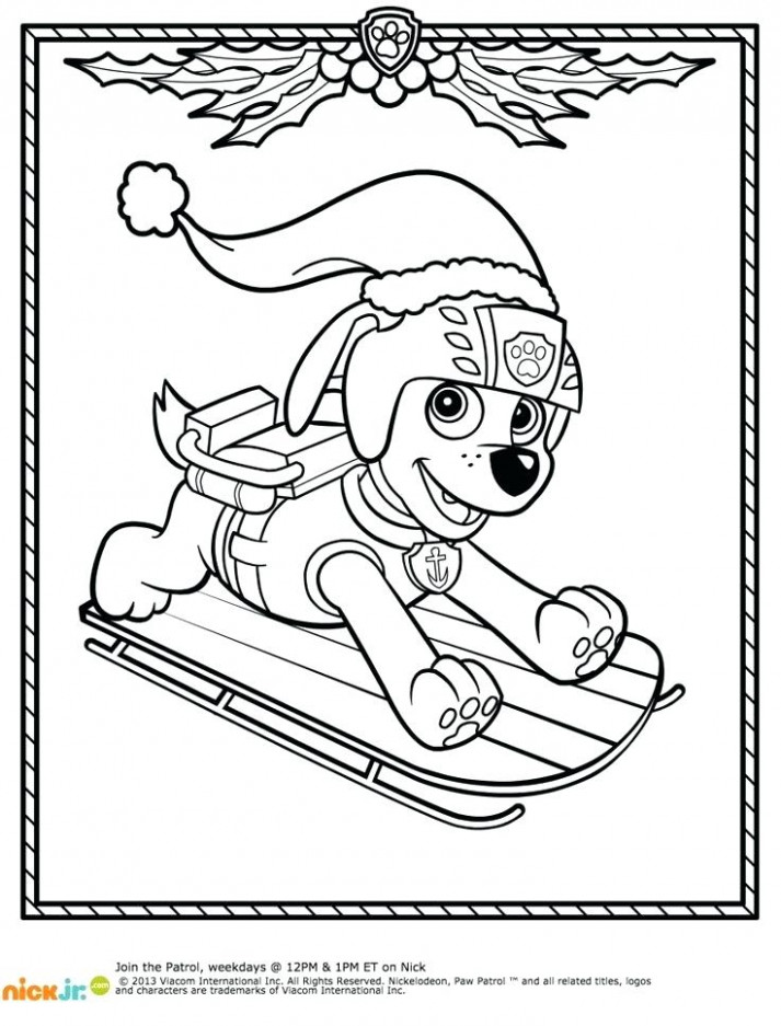 Paw Patrol Christmas Coloring Pages And Nick Jr Coloring Pages Paw ...