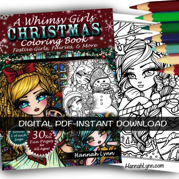 PDF A Whimsy Girls Christmas Coloring Book–INSTANT DOWNLOAD – Christmas Coloring Book Download