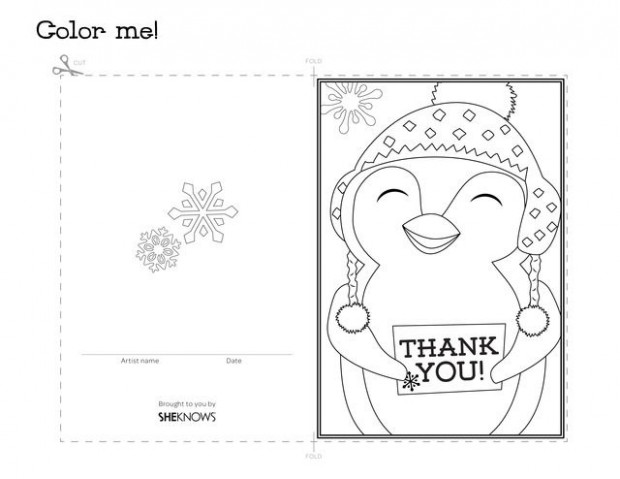 Penguin holiday thank you card – Free Printable Coloring Pages ..