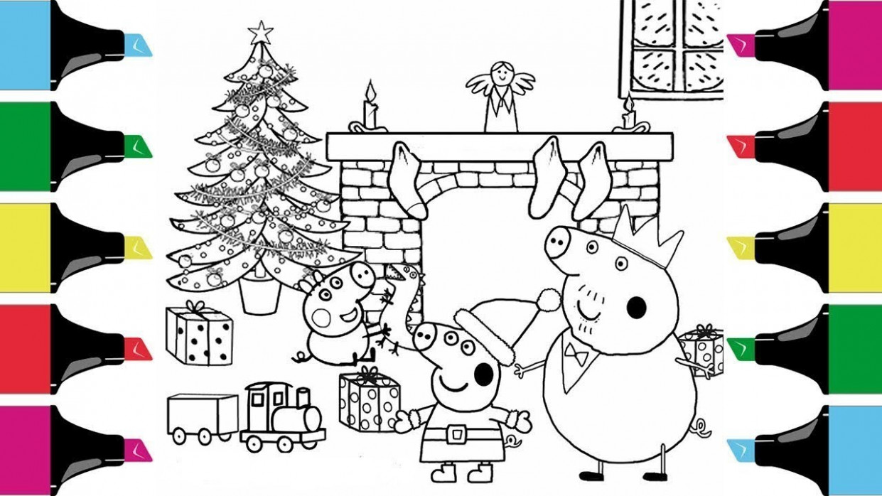 Peppa Pig Christmas Coloring Book Pages Art Coloring Videos For Kids ..