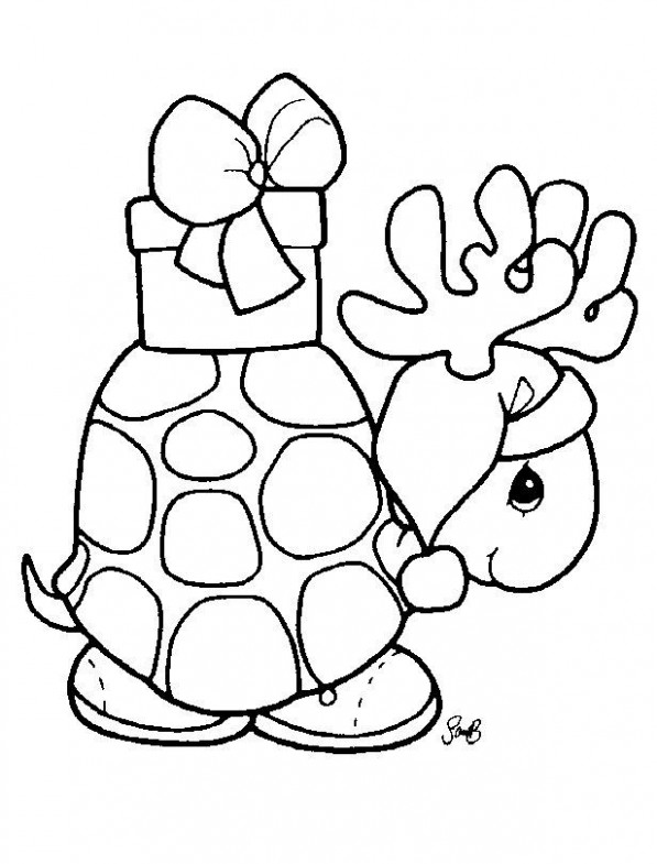 Precious Moments Turtle | Holiday Time !! | Christmas coloring pages ..