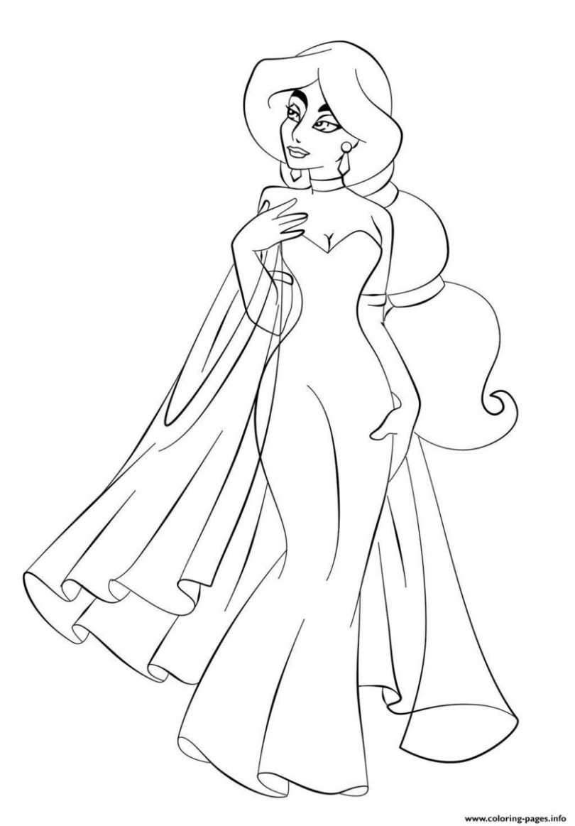 Princess Jasmine Coloring Pages In Jasmine Coloring Pages Coloring ...