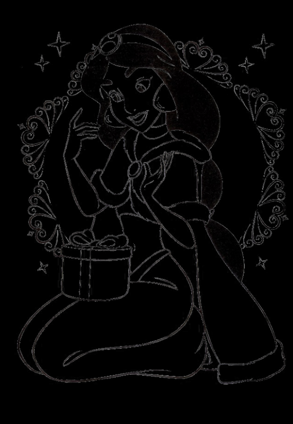 Princess Jasmine Got A Gift On The Day Of Christmas Coloring Pages ...
