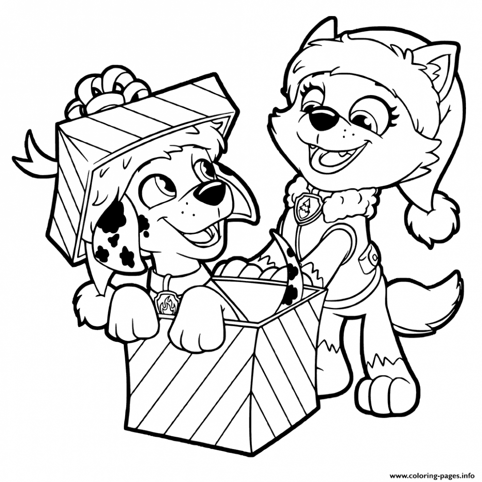 Print PAW Patrol Christmas Gifts coloring pages | holiday coloring ...