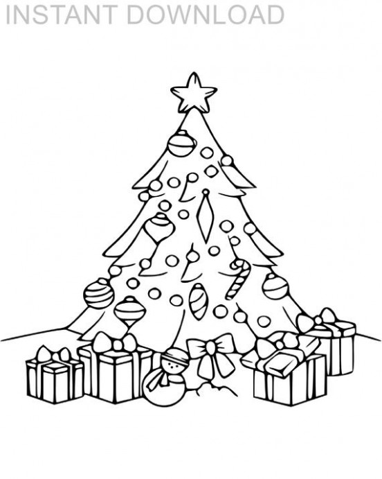 Printable 17 x 17 Christmas Tree and Presents Kids Coloring | Etsy – 8 X 10 Christmas Coloring Pages