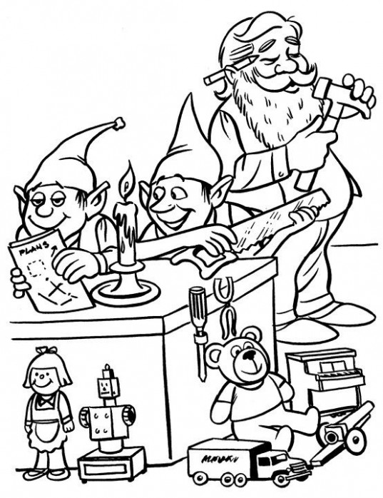 Printable Christmas Coloring Page: Elves in Workshop | Christmas ...