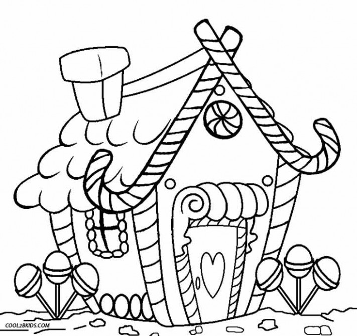Printable Gingerbread House Coloring Pages For Kids | Cool13bKids